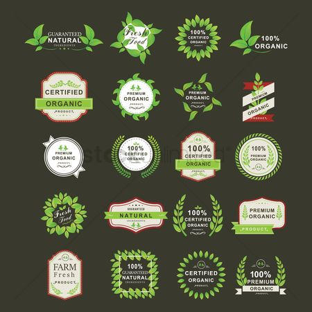 Fresh : Set of organic product label icons