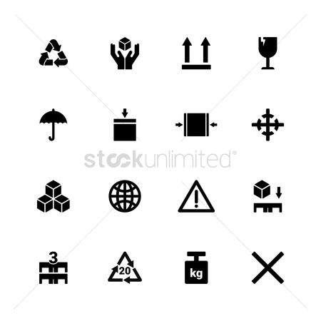 Stack : Set of packaging symbol icons