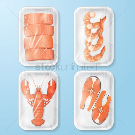 Fresh : Set of packed seafood