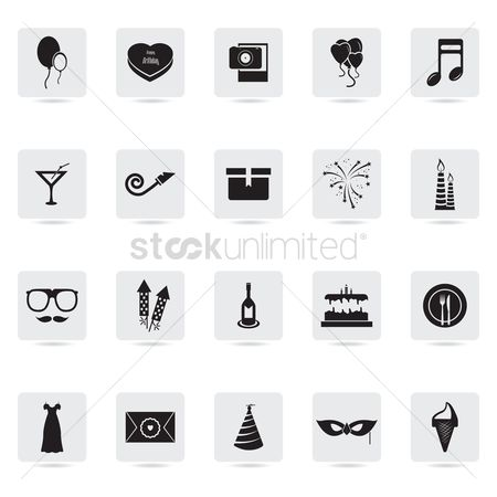 Heart shape : Set of party icons