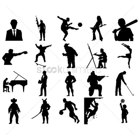 Baseball : Set of people silhouettes