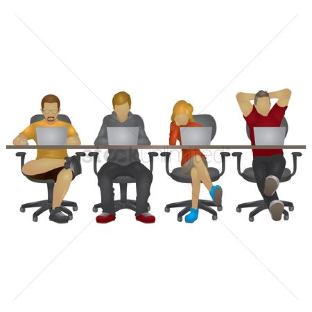 Cartoon : Set of people working on laptop