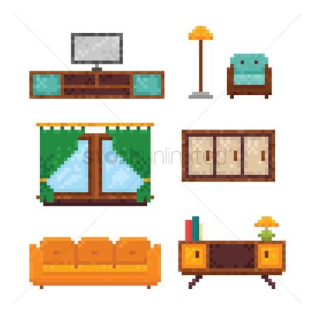 Lighting : Set of pixel art furniture icons