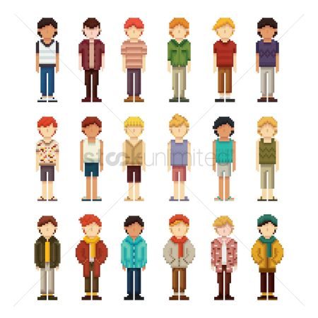 Slippers : Set of pixel art men fashion icons