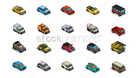 Mobiles : Set of pixel art vehicle icons
