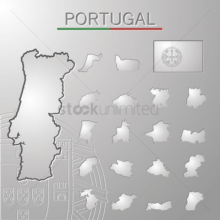Lisbon : Set of portugal cities maps