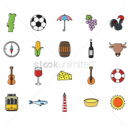 Wine barrel : Set of portugal icons