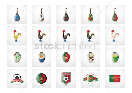 Flower pot : Set of portugal icons