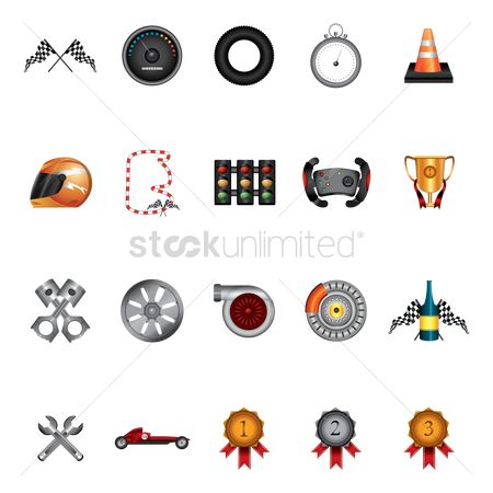 Car speedometer : Set of racing items