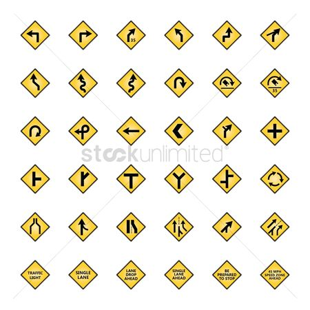 Caution : Set of road sign icons