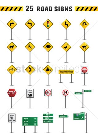 Shield : Set of road sign icons