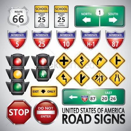 United states : Set of road signs