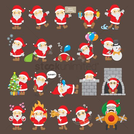Transport : Set of santa claus icons