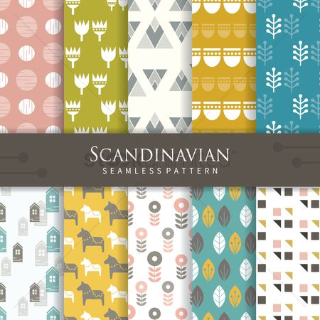 Wallpaper : Set of scandinavian pattern icons