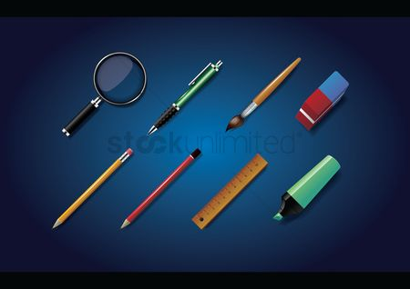 Learn : Set of school supplies