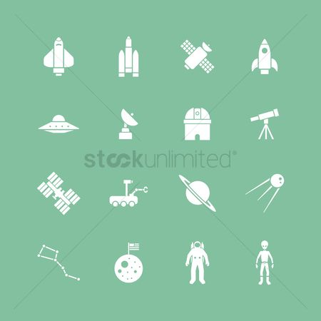 Falling : Set of science icons