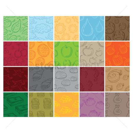 Wallpaper : Set of seamless pattern backgrounds