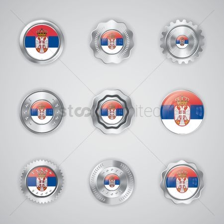 Tricolored : Set of serbia flag buttons