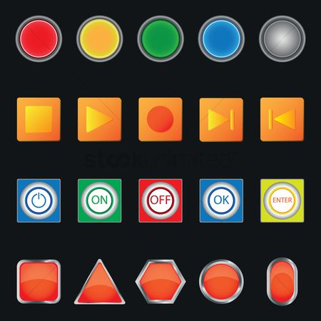 Power button : Set of shapes and button