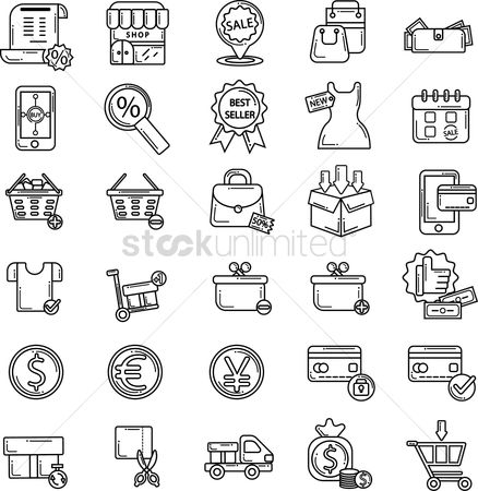 Plus : Set of shopping icons