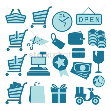 Register : Set of shopping icons