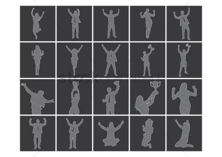 Cheering : Set of silhouettes