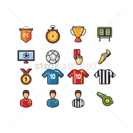 Broadcasting : Set of soccer icons