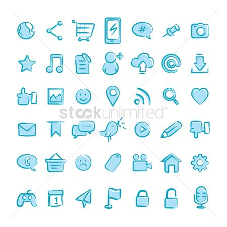 Shopping cart : Set of social media icons