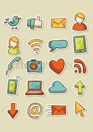 Mobiles : Set of social media icons