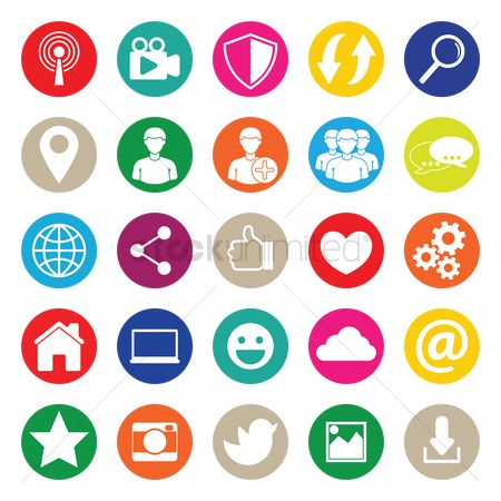 Map pointer : Set of social media icons