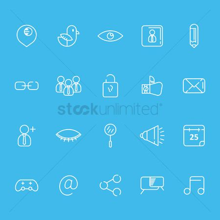 Communication : Set of social media icons