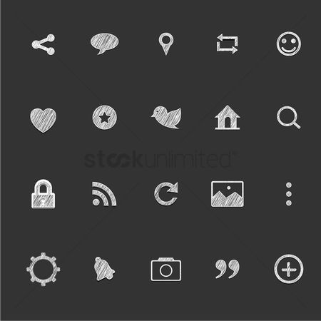 Plus : Set of social media icons