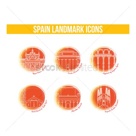 Museums : Set of spain landmark icons