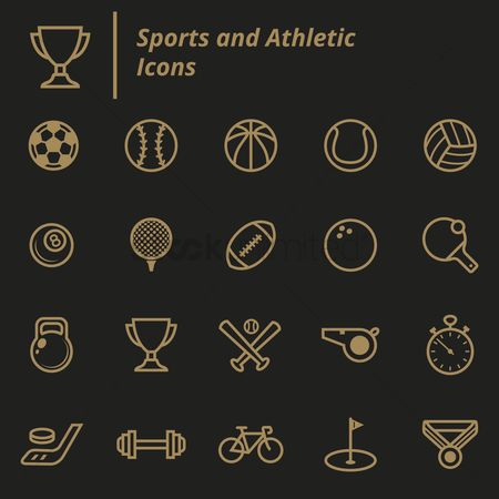Baseball : Set of sports and athletic icons