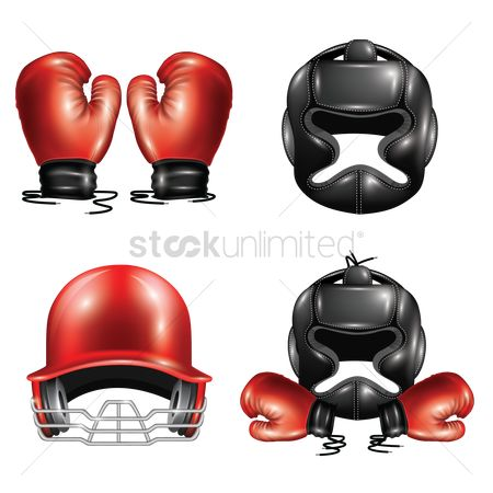 Boxing glove : Set of sports equipment