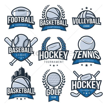 Baseball : Set of sports logo element icons