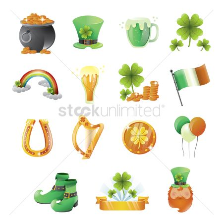 Beer : Set of st patrick s day icons