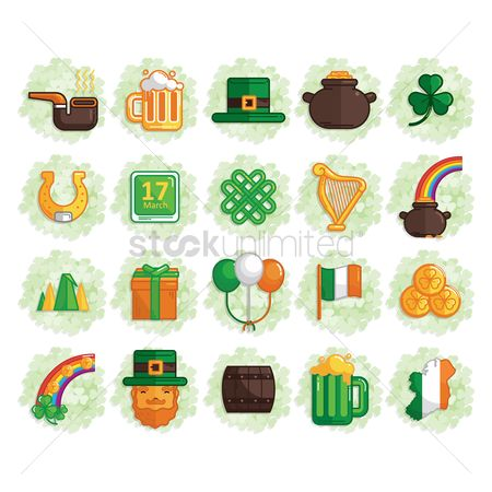 Beer mug : Set of st patrick s day icons