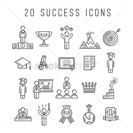 Work : Set of success icons