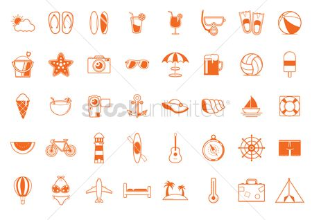 Cones : Set of summer icons