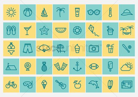 Temperatures : Set of summer icons