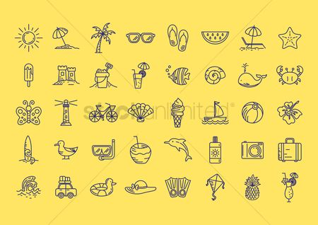 Marine life : Set of summer icons