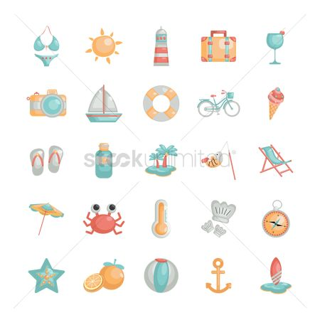 Starfishes : Set of summer icons