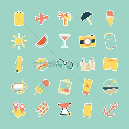Watermelon : Set of summer icons