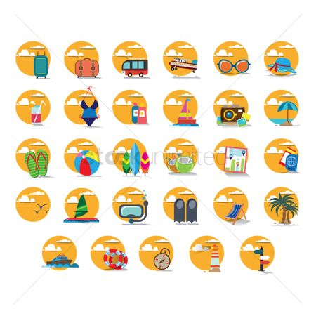 Swimsuit : Set of summer icons