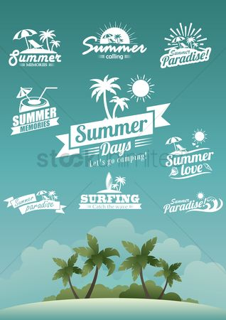 Calling : Set of summer labels