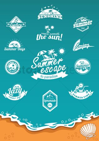 Seashore : Set of summer labels