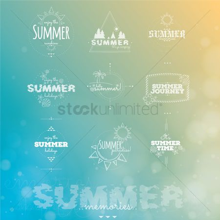 Logs : Set of summer typographies