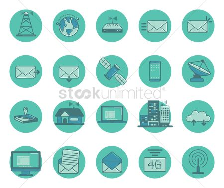 Map pointer : Set of technology icons