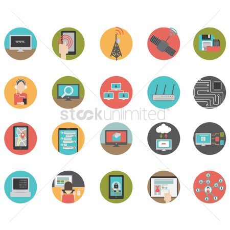 Screens : Set of technology icons